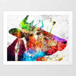 Cow Profile Watercolor Grunge Art Print
