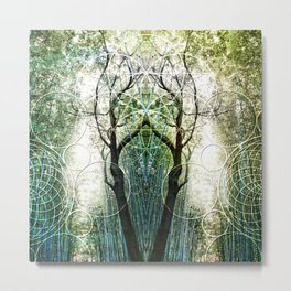 Bamboo Forest Geometry Metal Print