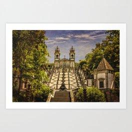 Portugal, Minho district, Braga, the sanctuary of Bom Jesus and the baroque stairway Art Print