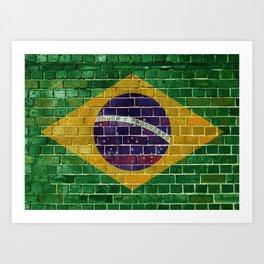 Brazil flag on a brick wall Art Print