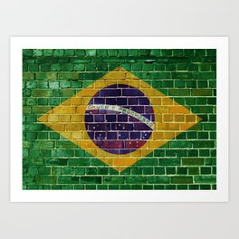 Brazil flag on a brick wall Art Print