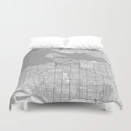 Vancouver Map Line Duvet Cover
