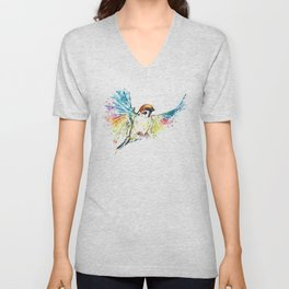 Colorful Sparrow Watercolor Painting Unisex V-Neck