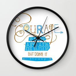 Courage Print, Hand Drawn Typography Wall Clock
