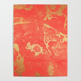 Effect coral and gold marble Poster