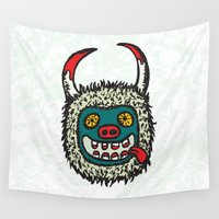 pagan Wall Tapestries featuring Traditional Croatian carnival mask from the region around Rijeka by mangulica illustrations