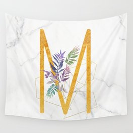 Modern glamorous personalized gold initial letter M, Custom initial name monogram gold alphabet prin Wall Tapestry