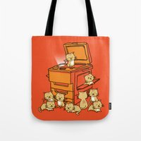 furry Tote Bags featuring The Original Copycat by Picomodi