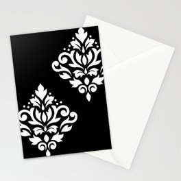 Scroll Damask Art I White on Black Stationery Cards