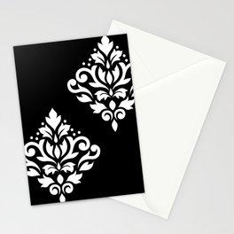 Scroll Damask Art I White on Black Stationery Cards