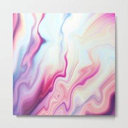 Pretty Pink Purple White Abstract Agate Metal Print