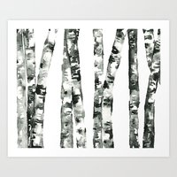 birch Art Prints featuring Birch    by kristinesarleyart