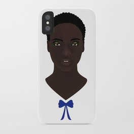 Mujer con moño azul iPhone Case