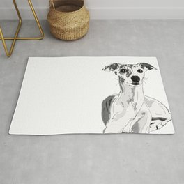 Greyhound Dog Reclining Rug