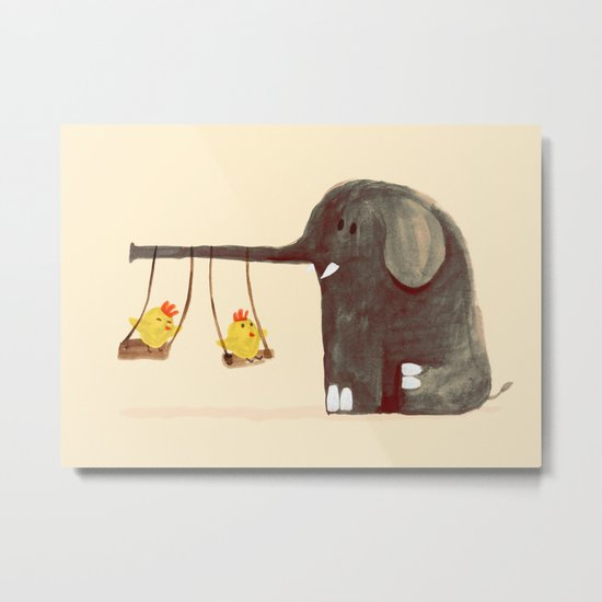 Elephant Swing Metal Print