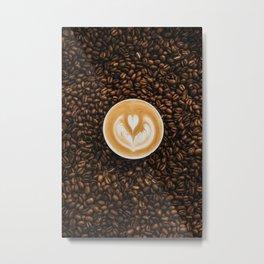 Coffee Beans & Coffee Cup Metal Print