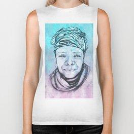 Maya Angelou Portrait on Blue and Pink Biker Tank