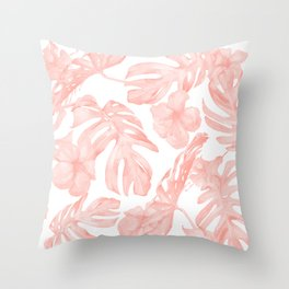 Tropical Palm Leaves Hibiscus Flowers Coral Pink Throw Pillow