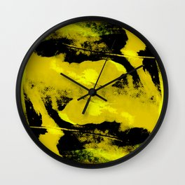 Abstract distortion (Yellow version) Wall Clock