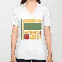 pasta V-neck T-shirts featuring Pasta Mondrian by Chayground