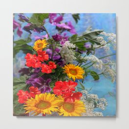 QUEEN ANN'S LACE GERANIUMS SUNFLOWERS BLUE STILL LIFE Metal Print