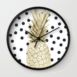 Gold Pineapple on Black and White Polka Dots Wall Clock