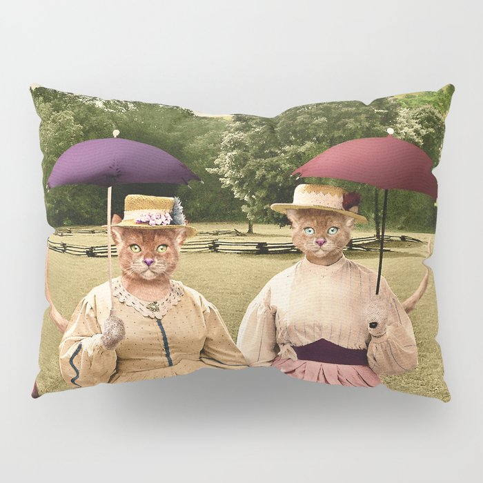 Two Pretty Kitties: Out for a Stroll Pillow Sham