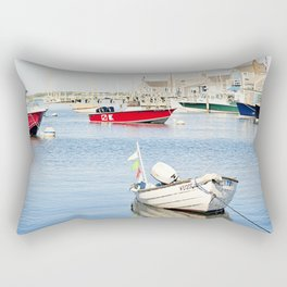 Boats Reflecting in Harbor in Nantucket Rectangular Pillow