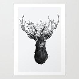 Floral Wreath Deer Art Print