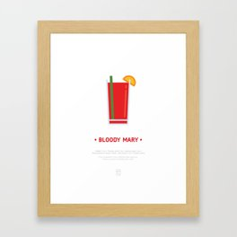 Bloody Mary Cocktail Recipe Art Print (White) Framed Art Print
