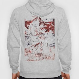 Abstract Red and Blue Expressive Fabric Collage Collagraph Hoody