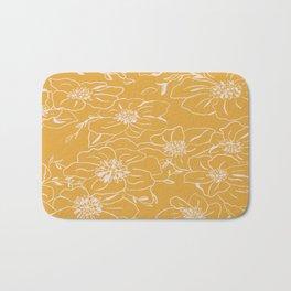 Clematis line art on gold Bath Mat