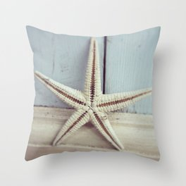 Pale Starfish on Blue Throw Pillow