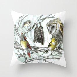 The Bat & the Warrior Birds Throw Pillow