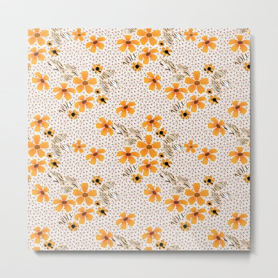 The floral pattern on the grid . Metal Print