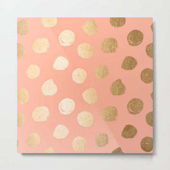 Sweet Life Polka Dots Peach Coral + Orange Sherbet Shimmer Metal Print
