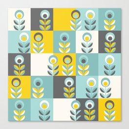 Scandinavian florals 04, teal, yellow and grey Canvas Print