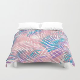 Palm Leaves - Iridescent Pastel Duvet Cover