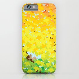 Cute Squirrel in Ombre Maple Tree in Autumn Illustration iPhone Case