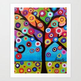 Whimsical Tree of Life Arbol la Vida Painting Art Print