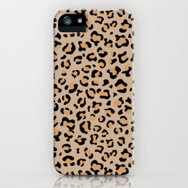 Animal Print, Spotted Leopard - Brown Black iPhone Case
