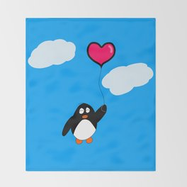 Penguin with Heart Balloon Throw Blanket