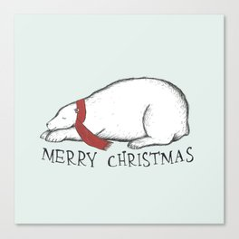Dreaming Christmas Polar Bear Canvas Print