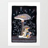 mushrooms Art Prints featuring Mushrooms by Asja Boros