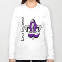 fleur de lis Long Sleeve T-shirts featuring Fleur de lis lupus hope by anto harjo