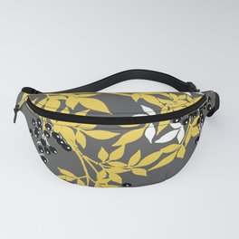TREE BRANCHES YELLOW GRAY  AND BLACK LEAVES AND BERRIES Fanny Pack