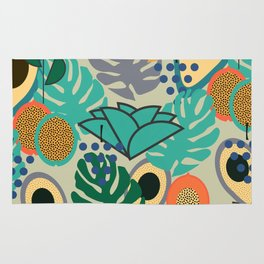 Monstera, fruits and flowers Rug