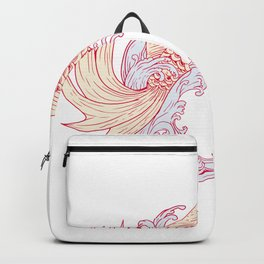 Nishikigoi Koi Jumping Waves Drawing Backpack