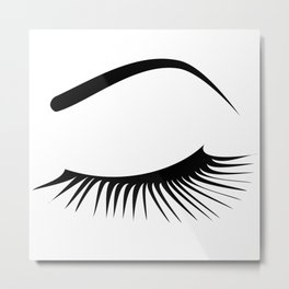 Closed Eyelashes Left Eye Metal Print
