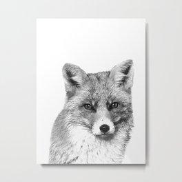 Black and White Fox Metal Print